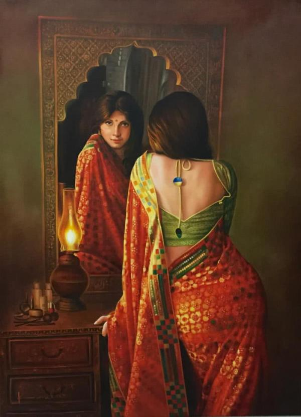 Lady In Mirror Artist Kamal Rao Oil Paintings