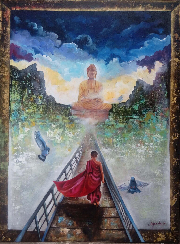 BUY BUDDHA PAINTINGS ONLINE BUDDHA AND MONK 2