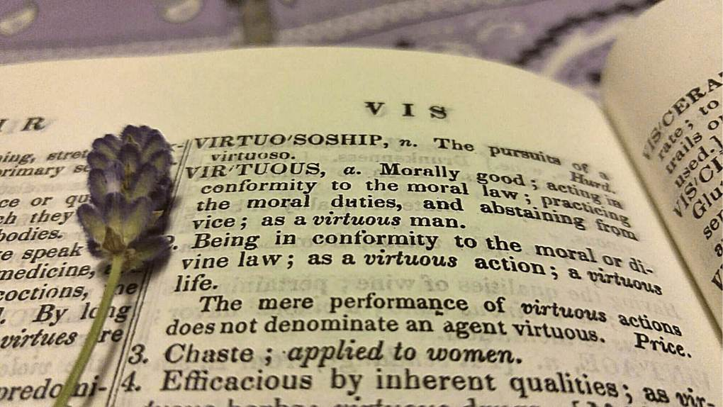 Virtuous woman meaning represented by dictionary open to the word virtuous.  There is a piece of lavender laid on the open dictionary.