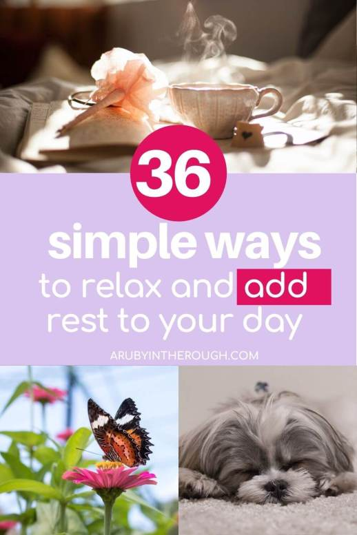 Pin image talking about 36 Simple ways to relax