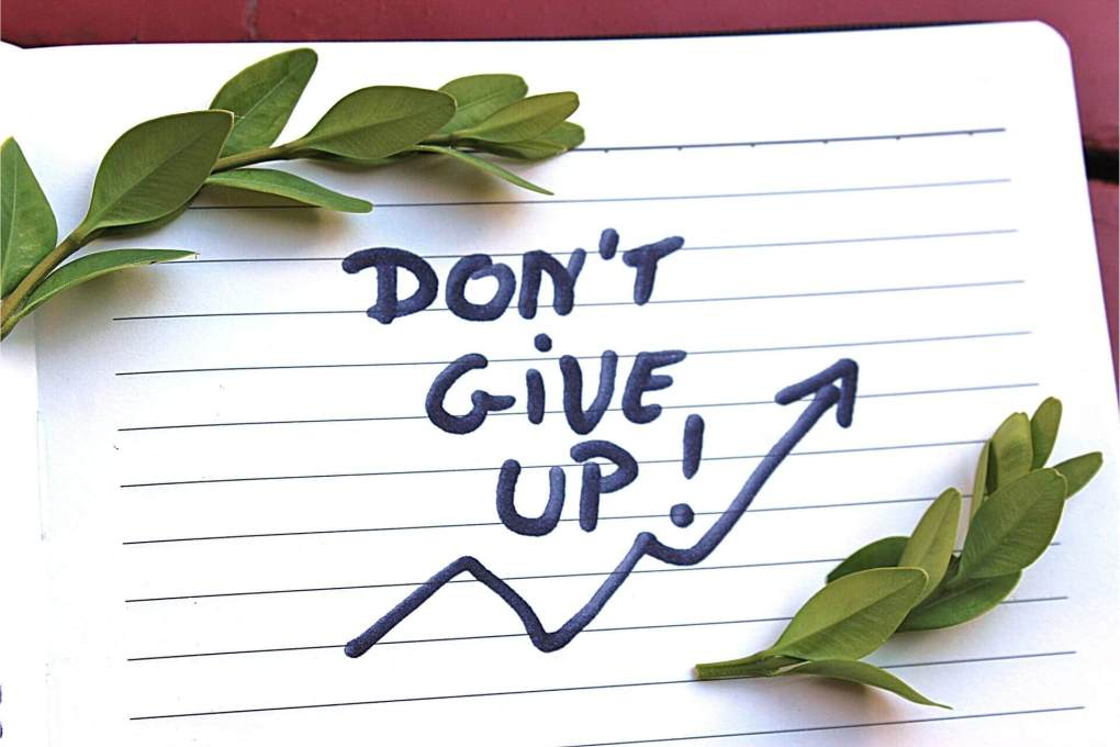 Notebook that says Don't Give Up! and has green leaves lying on it