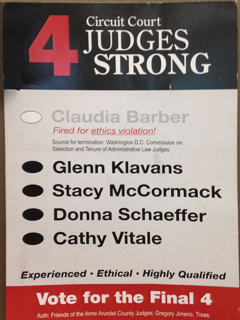 Campaign postcard of the Four Sitting Judges campaign. Barber's name is muted, and there is no mention that her removal is under appeal. (Photo credit: Brenda Wintrode)