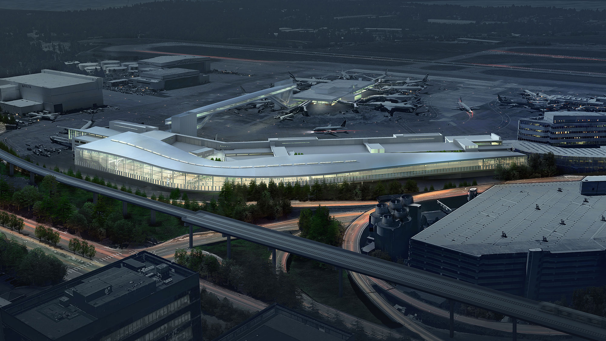 hight resolution of  aerial rendering of the seattle tacoma international arrivals facility