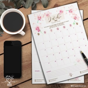 Planner mensal Árvore do Amor Out19 – download grátis