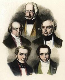 Ο Άμστελ Μέιερ και τα αδέλφια του, Νέιθαν (πάνω αριστερά), Σάλομον (κέντρο), Τζέιμς (κάτω αριστερά) και Καρλ (κάτω δεξιά) σε λιθογραφία του 1850.