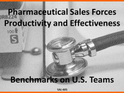 Pharmaceutical Sales Forces Effectiveness