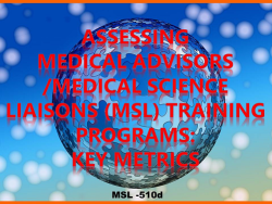 Medical Advisors-Medical Science Liaisons (MSL) Training Programs