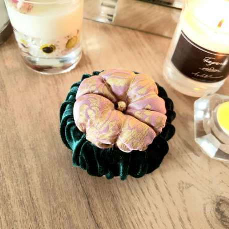 Pink Gold & Forest Green Pin Cushion