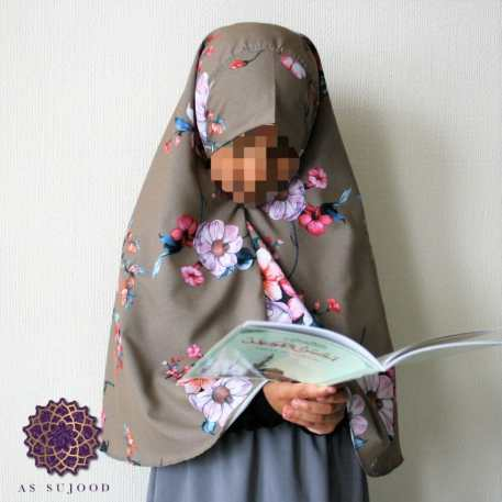Floral Bunches on Brown Girls' Khimar -1