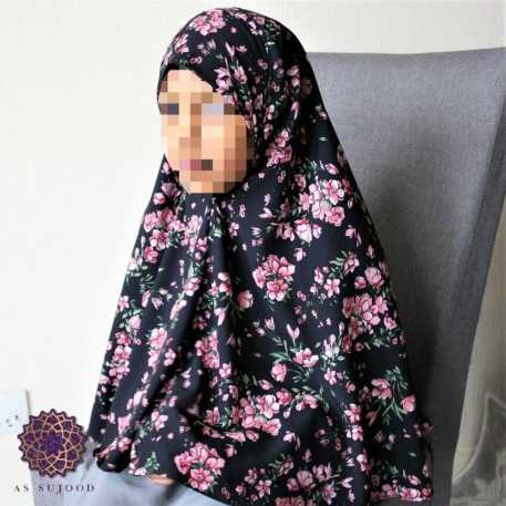 Small Pink Floral Bunches Girls' Khimar -2