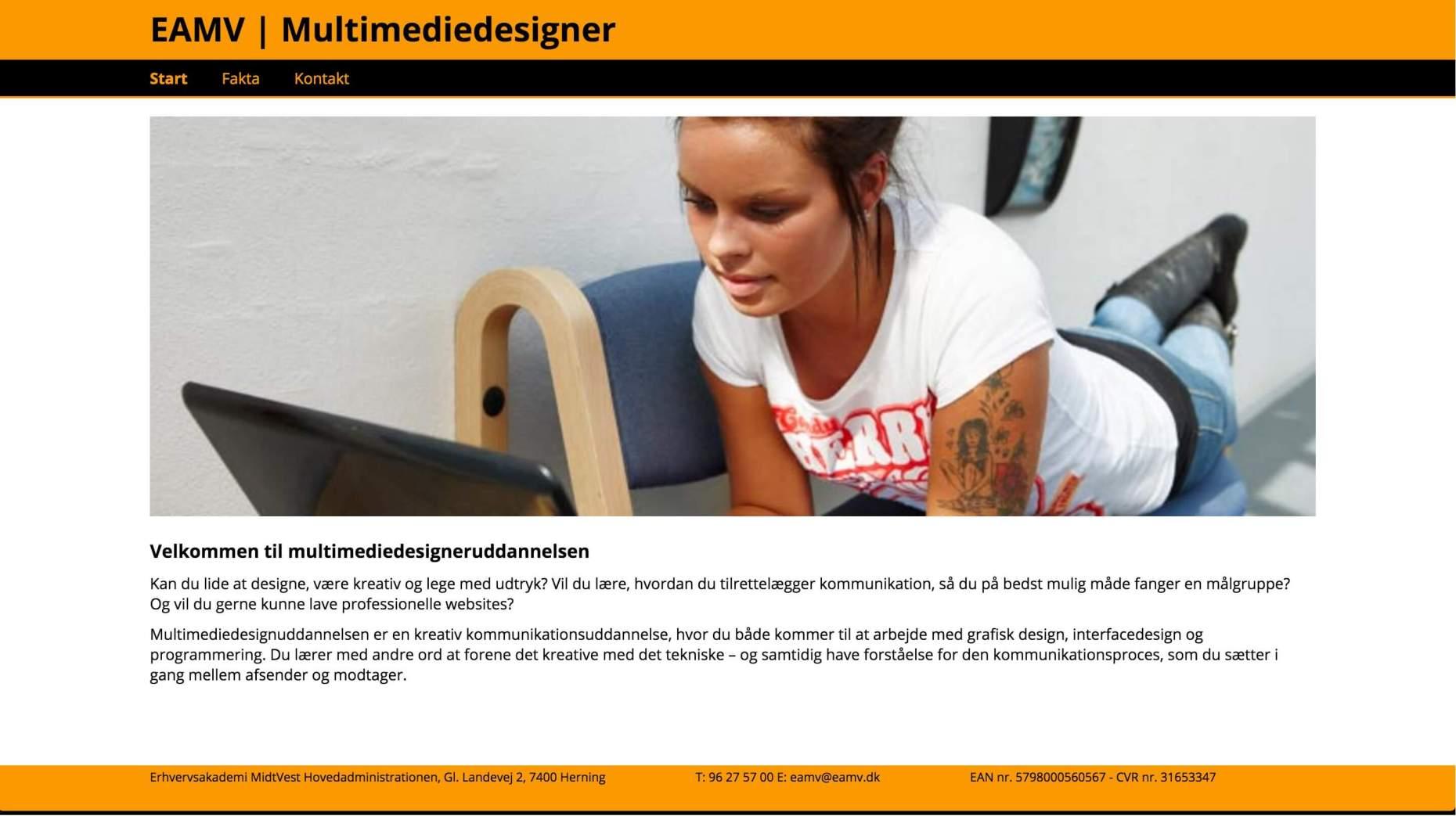 Uddannelse: Eamv webdesign og hjemmeside