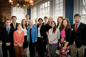 Students honored by the Randall Outstanding Undergraduate Research award Program with Dr. Judy Bonner, UA president.