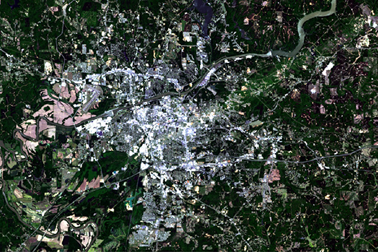 Satellite image of the city in 2014.