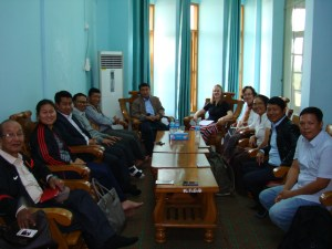 Dr. Joanna Biermann meeting with administrators and some faculty of the Kachin Theological College and Seminary, including the president, the former president, the academic dean, the heads of the music and English departments, and other music faculty.