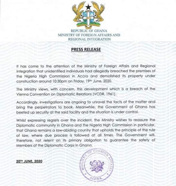 Ministry of Foreign Affairs on Nigeria High Commission demolition
