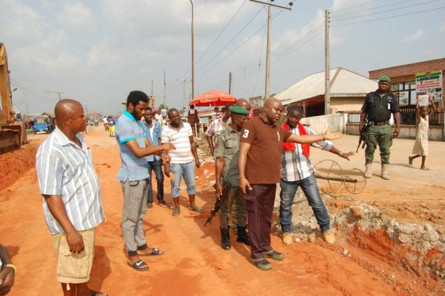 HON. IVWURIE INSPECTS ROAD REPAIRS IN ABRAKA