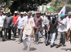 Members of Nigeria Labour Congress (NLC) and Nigeria Union of Teachers (NUT), Kaduna State chapter, protesting against the Mass sack of Teachers