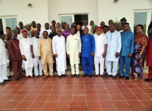 Delta State Governor, Senator Ifeanyi Okowa (7th Right), in a group photograph with non sitting members of the State House of Assembly, shortly after their courtesy call on the Governor in Asaba.