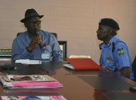 Delta Assembly Speaker, Rt. Hon. Sheriff Oborevwori addressing the delta State Commissioner of Police, CP Muhammad Mustafa during a Courtesy Call