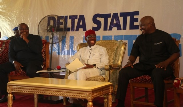 Delta State Governor, Senator Ifeanyi Okowa (middle); Hon. Leo Ogor (left) and Majority Leader, Hon. Tim Owhefere, during the 2017 Town Hall Meeting, at Isoko North Local Government Area, Delta State.