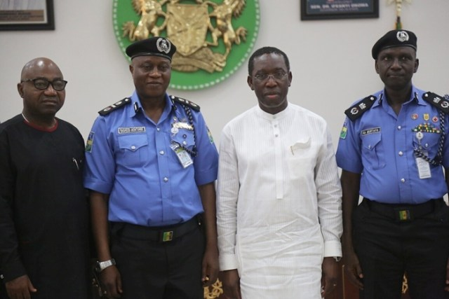 Delta State Governor, Dr. Ifeanyi Okowa (2nd right); Secretary to State Government, Rt. Hon. Ovie Agas (left); newly posted AIG Zone 5, Rasheed Akintunde (2nd left) and Commissioner of Police, Muhammad Mustafa, during a courtesy call on the Governor in Government House Asaba.