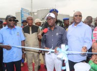 Delta State Governor, Senator Ifeanyi Okowa (2nd right); his Deputy, Barr. Kingsley Otuaro (right); Commissioner for Works, Chief James Augoye (left) and Vice Chairman, Warri North Local Government Area, Hon. Sunny Abilo, during the Commissioning of Iwere College Road, Koko in Warri North Local Government Area, Delta State.