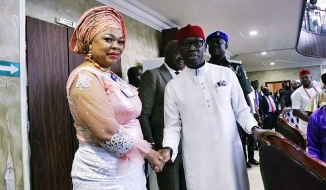 L-R: Hon Angela Nwaka, Member Representing Aniocha Constituency and Delta State Governor, Dr. Ifeanyi Okowa