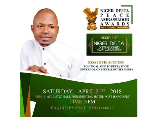 Ossai Ovie Success, Niger Delta Peace Ambassador Awardee