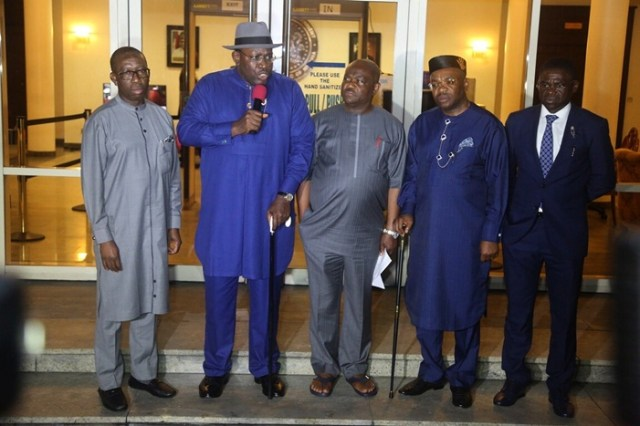 From left; Delta State Governor, Senator Ifeanyi Okowa; Governor of Bayelsa, Sariake Dickson; Governor of Rivers, Nyesom Wike; Governor of Akwa-Ibom , Udom Emmanuel and Edo State Deputy Governor, Philip Shaibu, during the South-South Governor's Forum Meeting, held in Government House Port-Harcourt.
