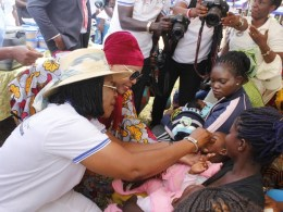 Hon Angela Nwaka looks on as Delta First Lady, Dame Edith Okowa Vaccinates Children at Aniocha South during the 05 Medical Outreach