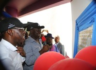 Deputy Senate President, Senator Ike Ekweremadu (right), and the Delta State Governor, Senator Ifeanyi Okowa, during the Commissioning of the State Library in Asaba.