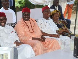 From Left; Delta State Governor, Senator Ifeanyi Okowa; former Governor, Chief James Ibori; former Deputy Governor, Sir Benjamin Elue and his wife, Lady Esther, during a reception in organized by Chief Benjamin Elue in honour of Chief James Ibori, at Obior, Aniocha North LGA.