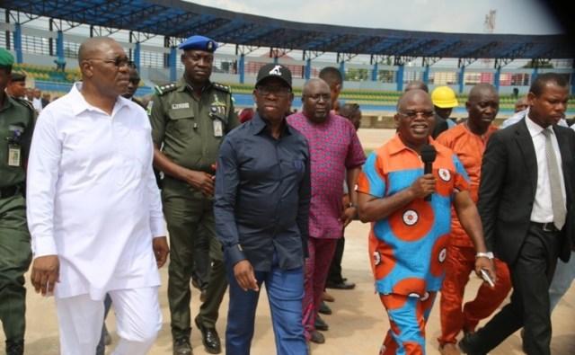 Okowa Inspects Stadium for 2018 Confederation of Africa Athletics Championship