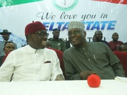 Delta State Governor, Senator Ifeanyi Okowa (2nd left); Former Vice President of the Federal Republic of Nigeria, Alhaji Atiku Abubakar, during a Consultative visit by Alhaji Atiku Abubakar to the Delta State Chapter of the Peoples Democratic Party in Government House, Asaba.