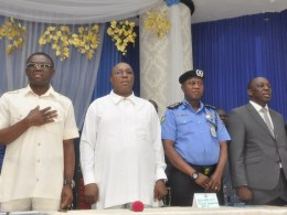 L-R: Edo State Deputy Governor, Rt. Hon Philip Shaibu; Delta State Deputy Governor, Barr. Kingsley Otuaro; Assistant Inspector General of Police, Zone 5, Rasheed O. Akintunde; and Permanent Secretary, Delta State Boundary Committee, Mr. Jude Aguonye, at a joint inter-state boundary meeting between Edo and Delta States at the Government House, in Benin City, Edo State.