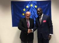 Edo State Governor, Mr. Godwin Obaseki (right); and Member, European Parliament, Santiago Fisas, at the European Parliament, in Brussels, Belgium.