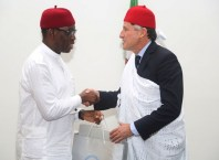Delta State Government, Senator Ifeanyi Okowa (left) and President of International Association of Athletics Federation (IAAF), Lord Sebastian Coe, during a courtesy call on the Governor, in Government House Asaba, Delta State.