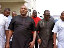 Minority Leader, House of Representatives, Rt. Hon. Leo Ogor (2nd left), former Secretary to Delta State Government, Comr. Ovuozourie Macaulay, (2nd right), Isoko North Council Chairman. Hon. Emma Egbabor (left) and PDP Chairman, Isoko North, Prince Godwin Ogorugba during the party stakeholders and members meeting in Ozoro at the weekend.PIX: Goodluck Emeofagbe