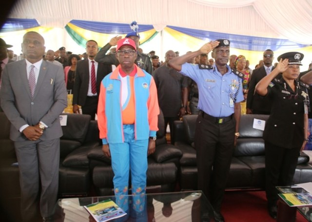Delta State Governor, Senator Ifeanyi Okowa (2nd left), Chief Judge of the State, Justice Marshal Umukoro (left); the State Commissioner of Police, Mr Muhammad Mustafa (2nd right), and the Second in Command, DCP, Ngozi Onadeko, during the commissioning of the Eagle Net Special Squad Office at the State Police Headquarters, Asaba.