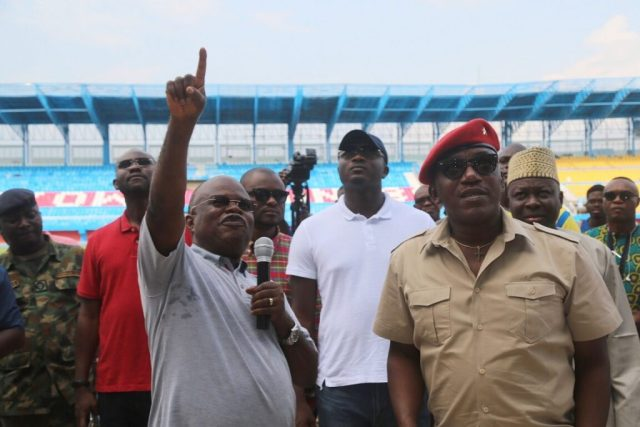 Minister of Sport, Solomon Dalung (left) and Chairman Local Organizing Committee, Chief Solomon Ogba, during the Inspection of Stephen Keshi Stadium, towards the Preparation of the 21stAfrican Senior Athletics Championship Game in Asaba, Delta State.
