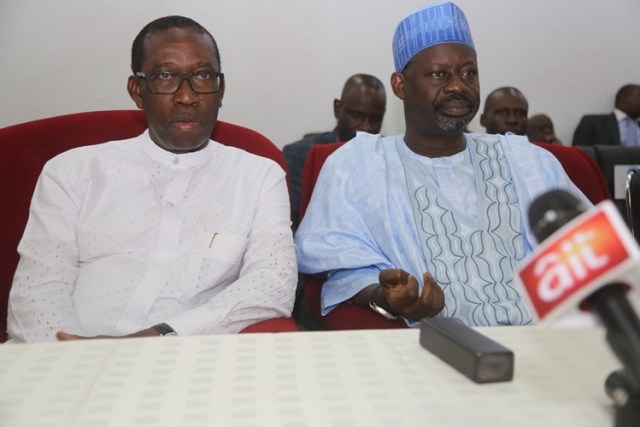 Delta State Governor, Senator Ifeanyi Okowa (left) and the Governor of Gombe State, Ibrahim Dankwanbo, during PDP Stakeholders Meeting, in Government House Asaba.
