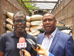 Special Adviser to Edo State Governor on Special Duties, Hon. Yakubu Gowon; Representative of Chairman, Esan West Local Government and Personal Assistant to the Council Chairman, Osborn Elimhele, during the distribution of relief materials by the state government to victims of windstorm in the council, in Benin City, Edo State.