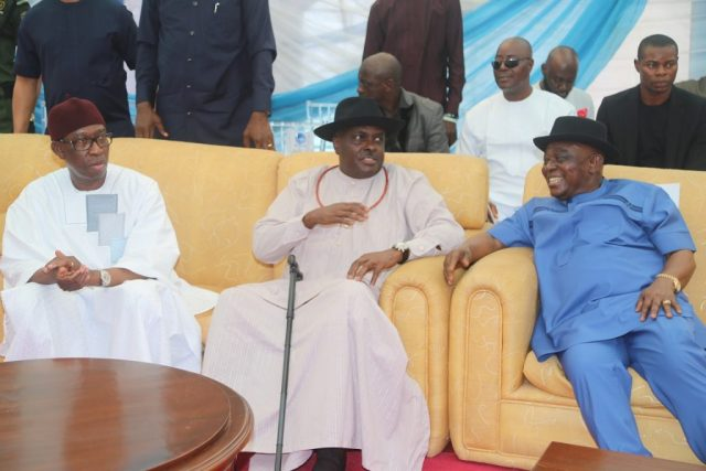 From left; Delta State Governor, Senator Ifeanyi Okowa; former Governor of Delta State, Chief James Ibori and Senator Patrick Osakwe, during the 70th Birthday of Senator Patrick Osakwe and Grand Reception in Honour of Chief James Ibori