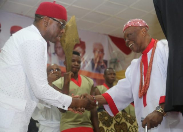 Delta State Governor, Senator Ifeanyi Okowa (left) and His Royal Majesty, Dr. Emmanuel Efeizomor II, the Obi of Owa Kingdom, during the 20th Ogwa Ika 2018, at Agbor Community Hall, Ime-Obi, Agbor, Ika South L.G.A., Delta State.