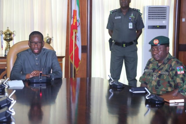 Delta State Governor, Senator Ifeanyi Okowa (left) and GOC 6 Division Nigerian Army, Major General Jamil Sarham, during a courtesy call on the Governor, in Government House Asaba.