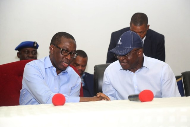 Delta State Governor, Senator Ifeanyi Okowa (left) and Senator David Mark, during a consultation stakeholder meeting between Senator David Mark and Delta State PDP Party members, in Government House Asaba.