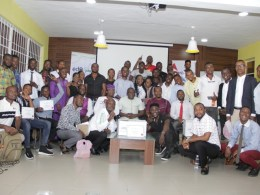 Cross-section of graduands with facilitators during the graduation ceremony of 89 youths, from the training programme organised by EdoJobs in partnership with SLOT Foundation, at the Edo Innovation Hub, Benin City.