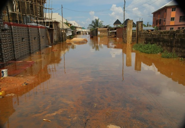 A Street in Delta State Being Threatened by Flood