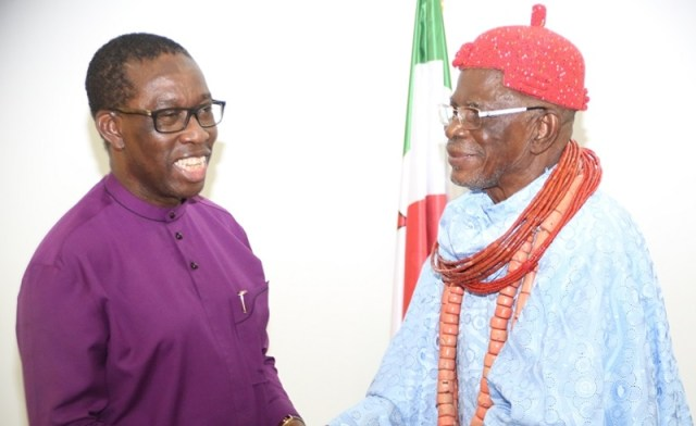 Delta State Governor, Senator Ifeanyi Okowa (left), andthe Igwe of Okpai, HRM Ugbomah Enebeli Golding ll (right), during a courtesy call by the later on the Governor in Asaba.