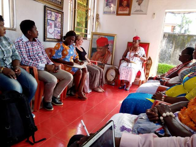 Members of The Challenge Initiative at the Palace of the Omu Anioma, Obi Martha Dunkwu at Okpanam, Delta State